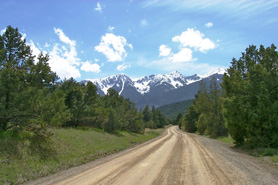 Hayden Creek Road with view of Hayden Pass, Colorado