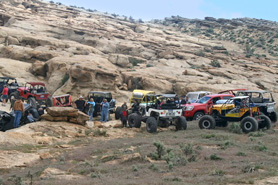 4x4s line up at the Rangely Rock Crawling Park, Colorado