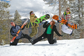 Skiiers and snow boarders in front of Parry in Winter Park, Colorado