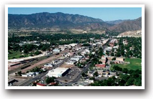 Canon City, Colorado from the air looking west