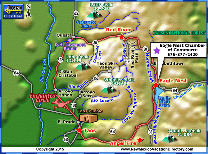 Enchanted Circle Scenic Byway Map Colorado Vacation Directory - Map of new mexico towns