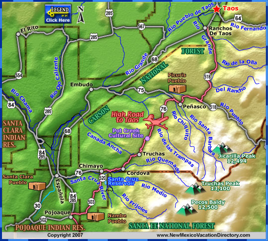 High Road To Taos Scenic Byway Map Colorado Vacation Directory - Colorado road map