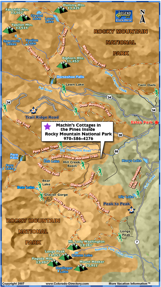 Rocky Mountain National Park Hiking Trails Map Colorado Vacation