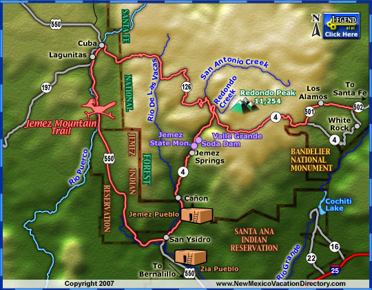 Jemez Mountain Trail Scenic Byway Map Colorado Vacation Directory