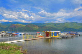 Boats on the docks at Vallecito Lake in Durango, Colorado