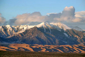 The Great Sand Dunes and snow capped Sangre de Cristo Mountain Range, Colorado