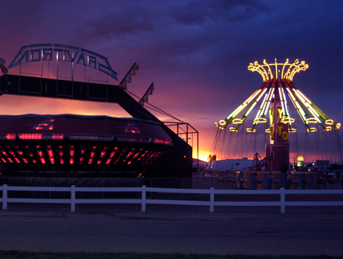 The Mesa County Fairgrounds at night in Grand Junction, Colorado
