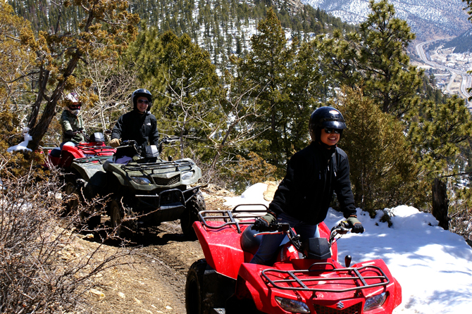 3 Girls on an ATV tour with ATV Tours @ Mile Hi Rafting in the Denver Mountain area