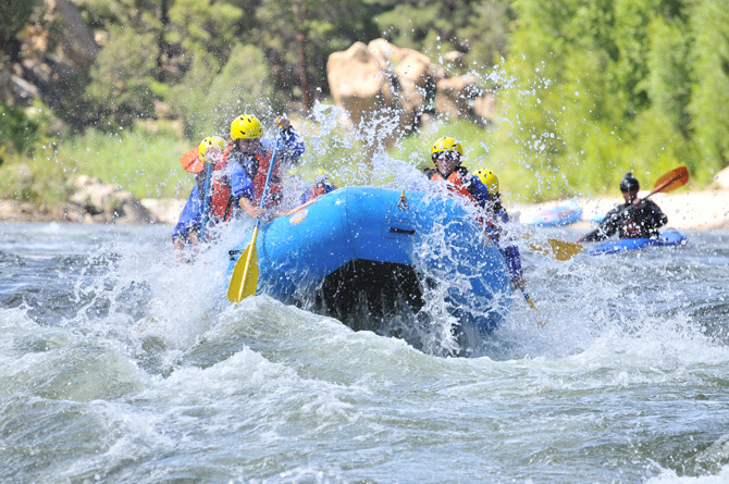 Family enjoys being on the river with Monumental Expeditions near Buena Vista, Colorado