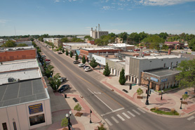 Birds eye view of Historic Main Street in Fort Morgan, Colorado
