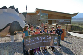 Kids participating in the Jr Ranger Program at Dinosaur National Monument in Colorado