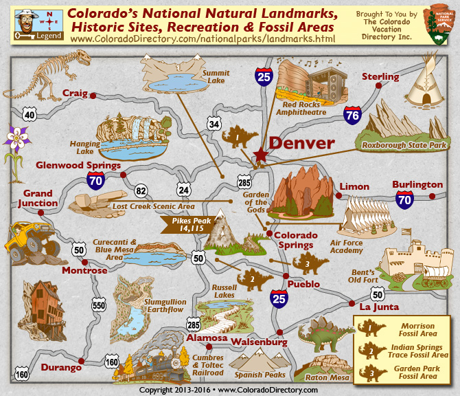 Colorado National Historic Fossil Sites Landmarks Map – Colorado Tourist Map