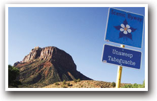Unaweep Tabeguache Scenic Byway highway sign, Colorado