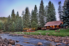 winter stream at O-Bar-O Cabins in Durango, Colorado