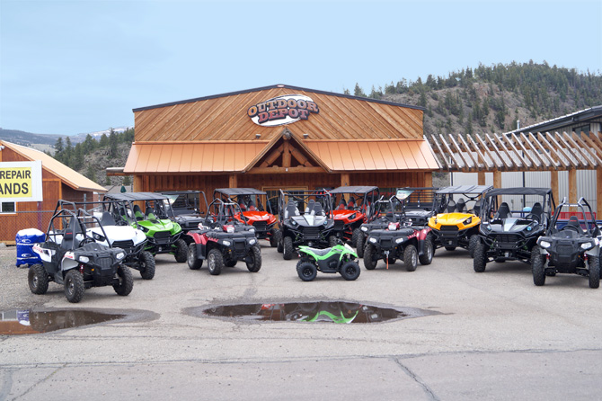 The Front of Outdoor Depot with ATV's for rent in the South Fork Area of Colorado
