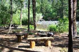 A day use fire pit at Archer's Poudre River Resort near Fort Collins, Colorado
