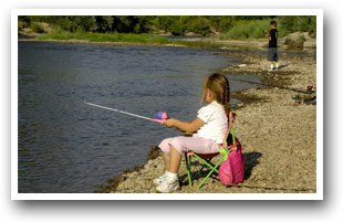Child Fishing along the Arkansas River near Pueblo, Colorado