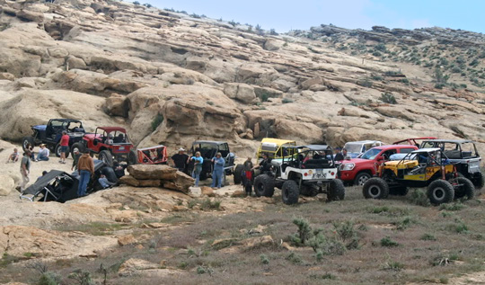 4x4s line up at the Rangely Rock Crawling Park, The Colorado Vacation Directory