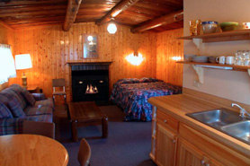 Rockey River Resort log cabin interior in Gunnison, Colorado