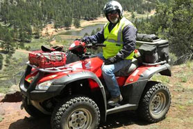 Man on ATV Rented from Rockhound ATV: Torus and Rentals in the Pikes Peak Area