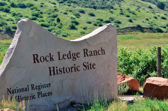The Sign for Rock Ledge Ranch Historic Site in Colorado Springs, Colorado