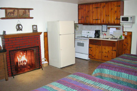 Motel Room with Fireplaces and Kitchenettes at Rocky Top Motel in the Pikes Peak Area of Colorado