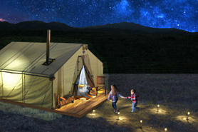 Glamping Canvas Deluxe Camper Cabins on Wood Platforms. Leave Your Tent at Home. Expereince the Outdoors.