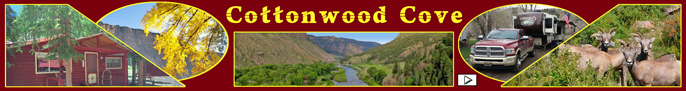 Click here to go to Cottonwood Cove Guest Ranch: Cabins, RV Park, Jeeps, Horse Rides web page