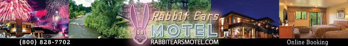 Click here for Rabbit Ears Motel, lodging along the Yampa river, Steamboat Springs Colorado