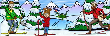 Colorado cross-country skiing rentals and trails illustration