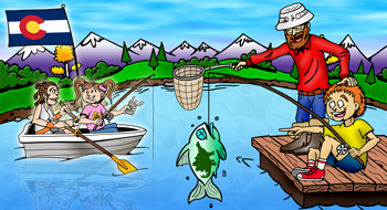 Colorado fishing and fly-fishing illustration