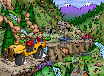 Colorado jeeping, 4x4, off-road, rentals, tours, service and sales illustration