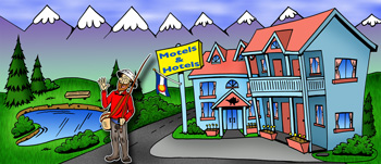 Colorado hotels and motels illustration