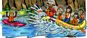 Colorado whitewater rafting and kayaking illustration