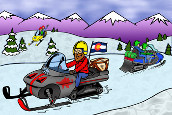 Colorado snowmobile rentals, tours and trails illustration