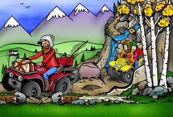 Colorado atv and utv rentals, tours, sales, service and trails illustration