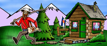 Colorado cabins and cottages illustration