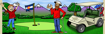 Colorado golfing and golf courses illustration