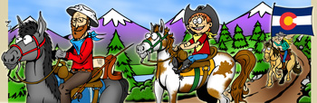 Colorado horseback riding and horse trails illustration