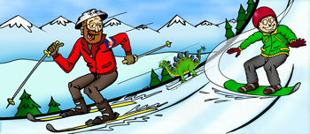 Colorado downhill skiing, snow boarding and winter activities illustration