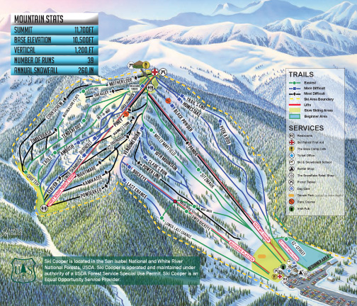 Skiing Colorado Map.Ski Cooper Chicago Ridge Skiing Snowboarding Colorado Vacation