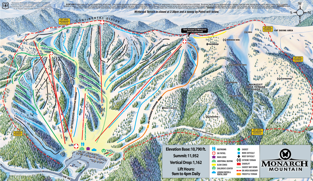 Skiing Colorado Map.Monarch Mountain Skiing Snowboarding Colorado Vacation Directory