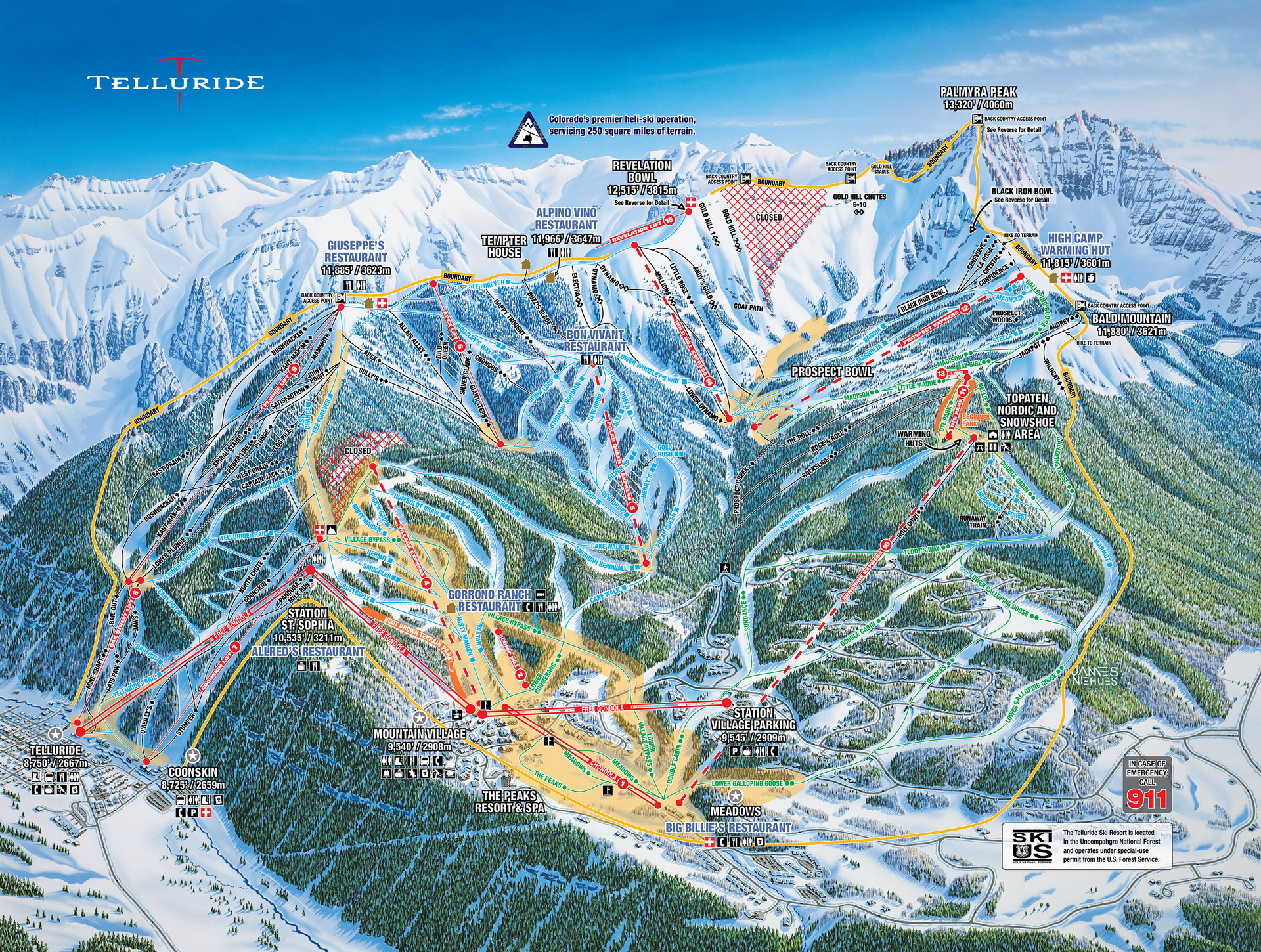 Skiing Colorado Map.Telluride Resort Skiing Snowboarding Colorado Vacation Directory