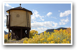 Railroad water tower in South Fork Colorado