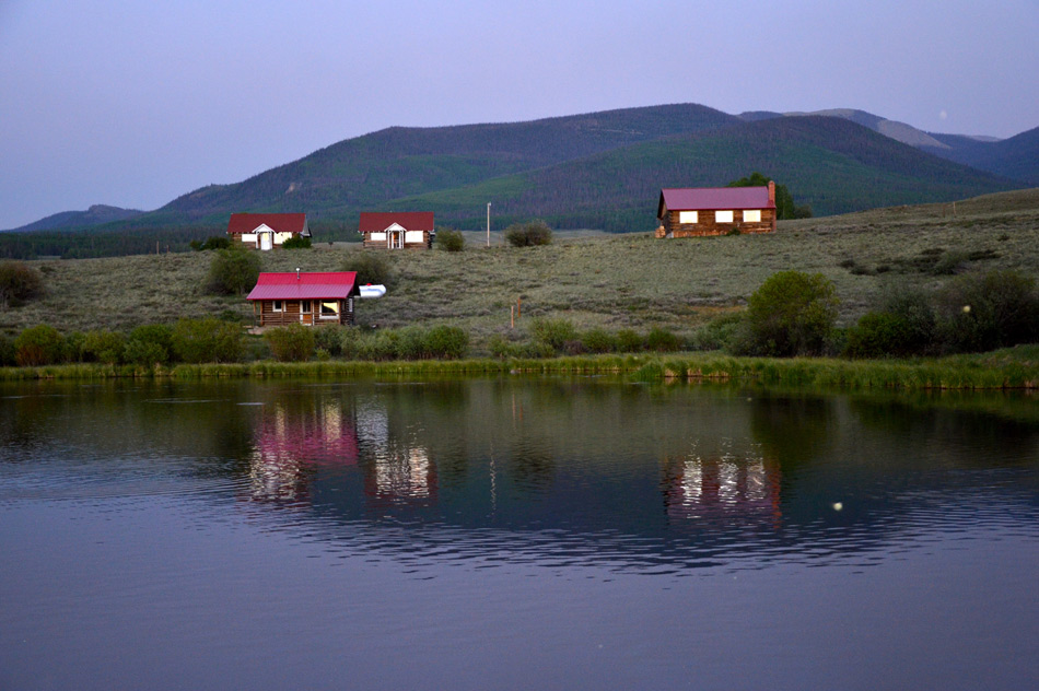 Lake side cabins at Soward Ranch in the Rio Grande Valley near Creede area, Colorado
