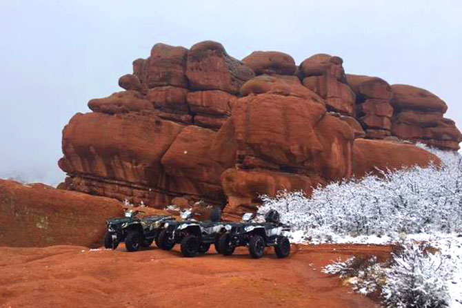 Storm Peak ATVs on red rock during winter near Denver, Colorado