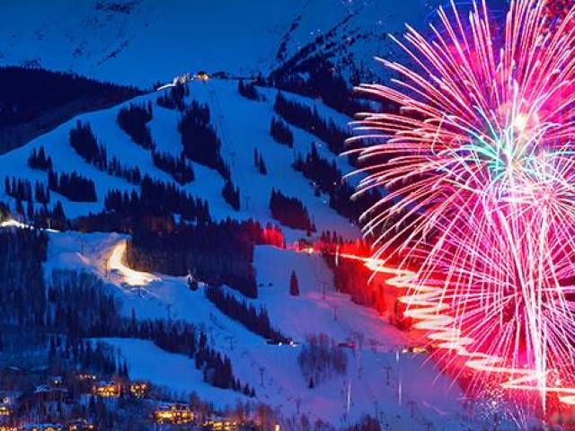 Fireworks over Timberline Condos near Aspen and Snowmass, Colorado