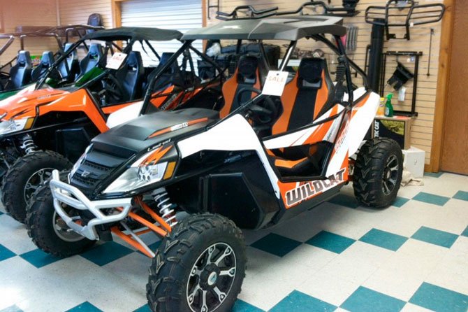 A quad inside a sales room at Twin Pine Motor Sports Sales, Service & Rentals, Side by Side, The Colorado Vacation Directory