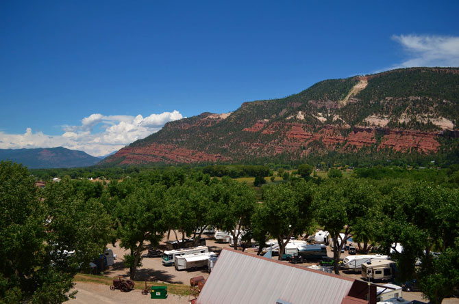 Aerial view of United Campground with swimming pool in Durango, Colorado
