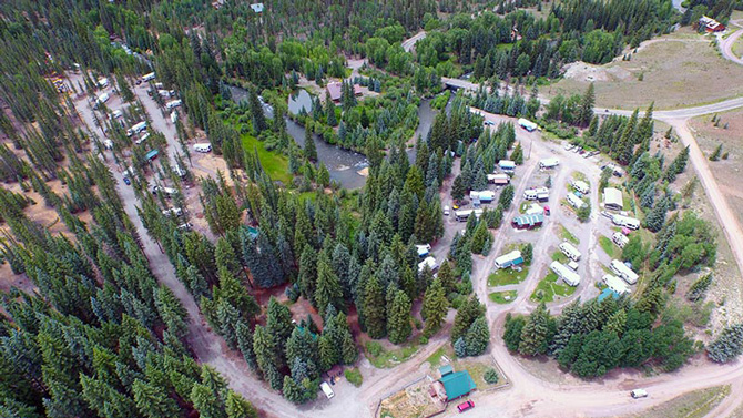 Aerial Picture looking down on Woodlake Park Campground and Cabins near Lake City, Colorado
